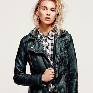 Free people hooded vegan leather moto jacket